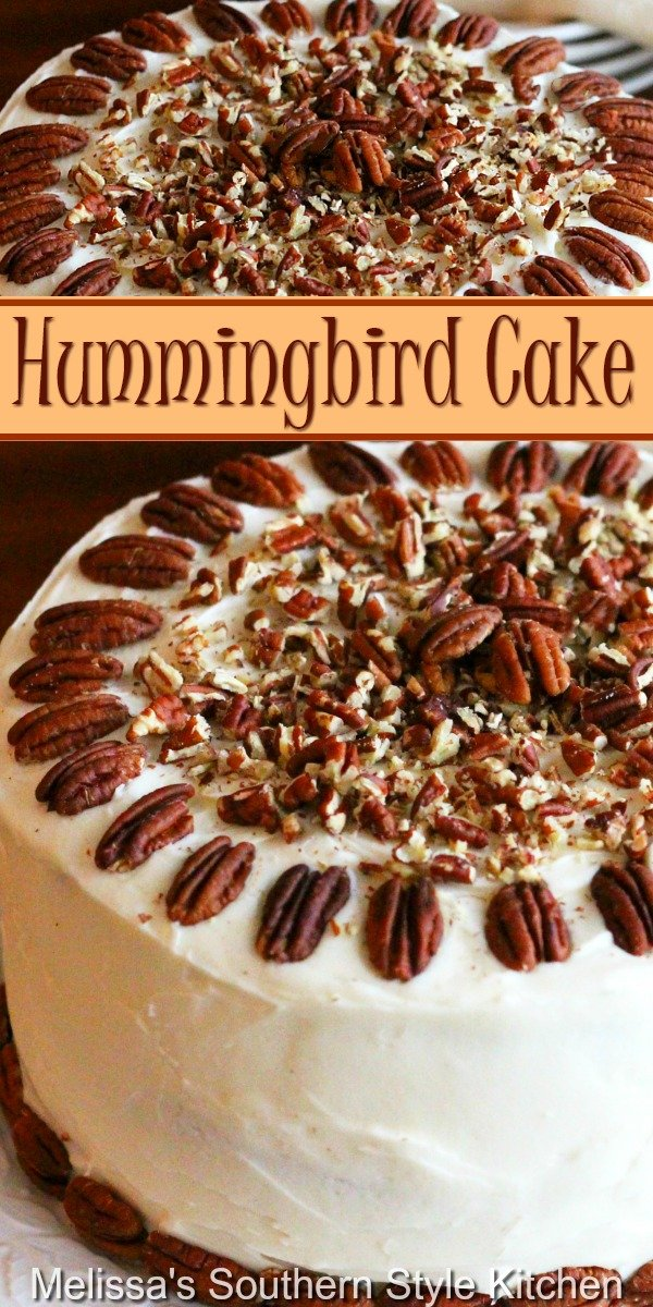 This Southern classic Hummingbird Cake never disappoints #hummingbirdcake #cakesrecipes #southerncakes #desserts #dessertfoodrecipes #pineapple #pecans #layercake #cake #holidayrecipes #holidays #southernfood #southernrecipes