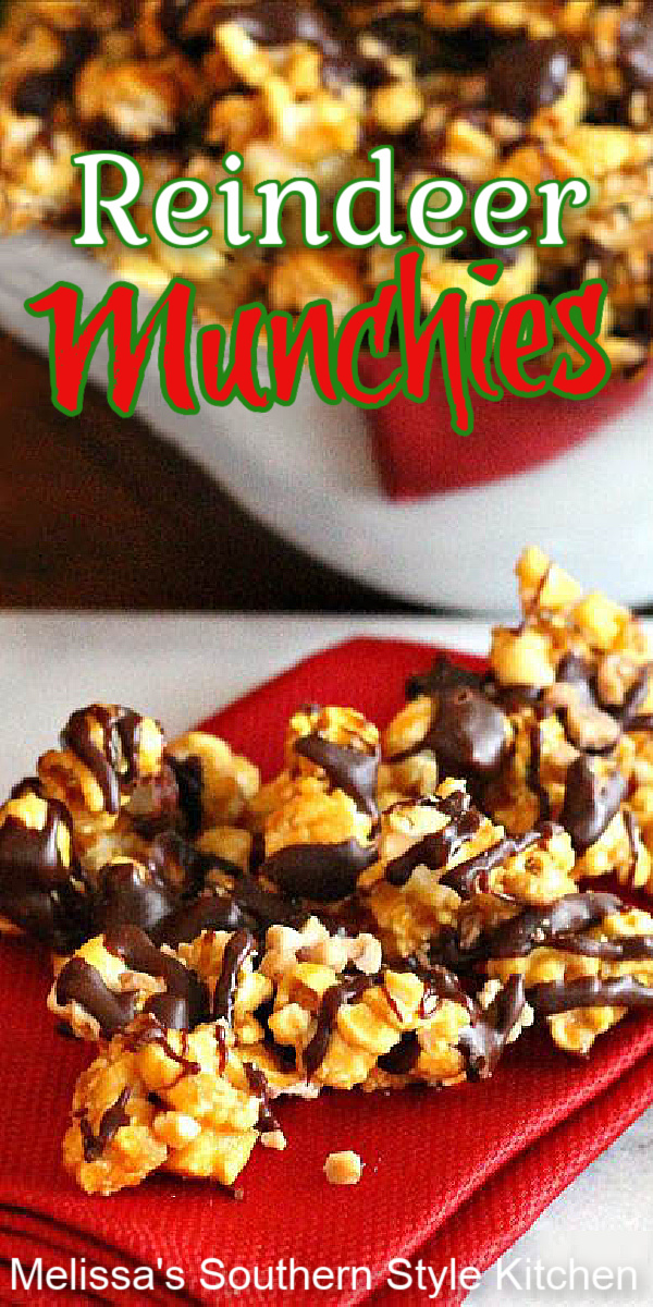 These chocolate drizzled Reindeer Munchies are popular with reindeer and kids of all ages! #caramelcorn #chocolatedrizzledpopcorn #popcornrecipes #holidayrecipes #moosemunch #caramel #sweets #desserts #dessertfoodrecipes #dessertrecipes #chocolate #homemade #southernfood #southernrecipes #christmas #christmasrecipes #melissassouthernstylekitchen