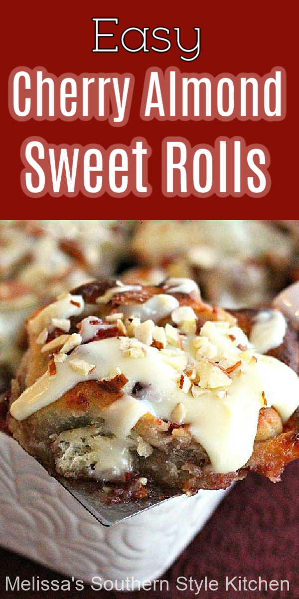 These oh-so-sweet and decadent white chocolate glazed Cherry Almond Sweet Rolls are the perfect sidekick for your morning coffee #cherryrolls #easysweetrolls #cherrydanish #cherrysweetrolls #brunch #breakfast #easyrecipes #holidaybrunchrecipes #Christmasbrunch #mothersday #cherryalmondrolls #whitechocolate