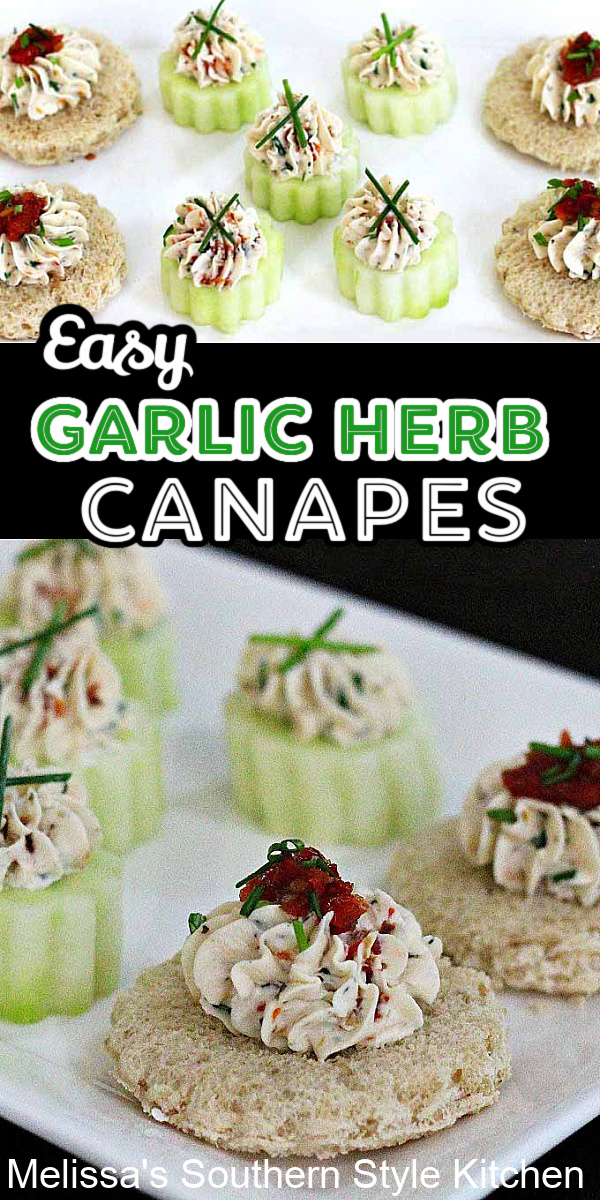 These no bake Garlic-Herb Cheese Canapes with fresh Chives and sundried tomatoes are a snap to assemble and can be made low carb, too #garlicherb #canapes #cucumberbites #lowcarbappetizers #garlicherbcheese #smallbites #southernstyle #appetizerrecipes #cucumbers