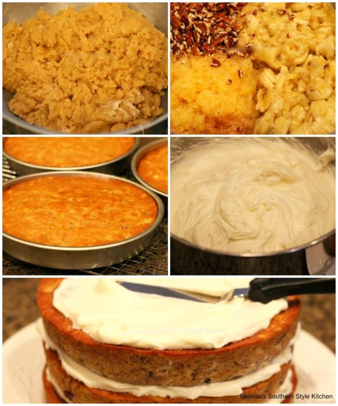 step-by-step images of how to prepare hummingbird cake