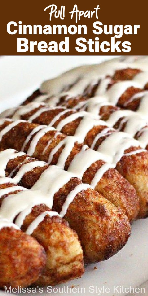 Serve these Pull Apart Cinnamon Sugar Bread Sticks with a homemade cream cheese dip for the ultimate snack #breadsticks #cinnamonbreadsticks #creamcheesedip #breadrecipes #bread #pullapartbreadsticks #brunch #appetizers #breakfast #southernfood #southernrecipes #holidaybrunch