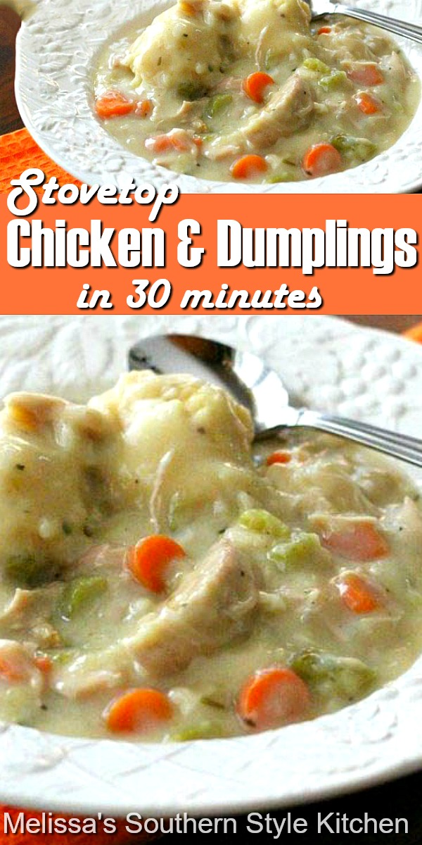 You can have this comforting Stovetop Chicken and Dumplings ready to eat in 30 minutes #chickenanddumplings #chicken #easychickenrecipes #dumplings #30minutemeals #dinner #dinnerideas #southernfood #southernrecipes #chuckendumplings