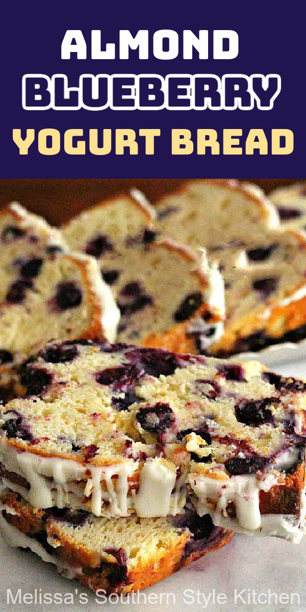 No yeast is required to make this irresistible Almond Blueberry Yogurt Bread #blueberrybread #greekyogurt #bread #sweetbreadrecipes #brunch #blueberries #breakfast #desserts #dessertfoodrecipes #holidaybrunch #southernfood #southernrecipes