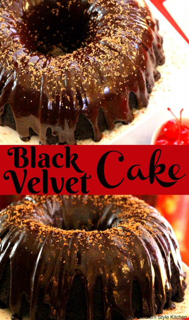 Black Velvet Cake With A Dark Chocolate Ganache