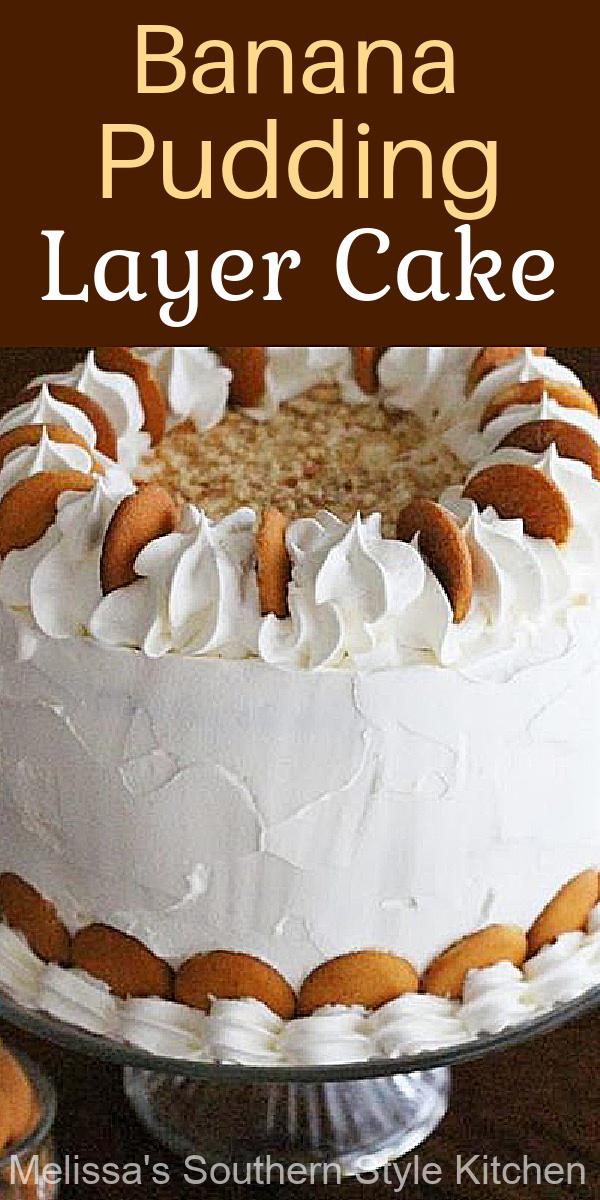 This Banana Pudding Layer Cake will make a stunning addition to your desserts table #bananapuddingcake #layercakerecipes #southernbananapudding #bananapuddingrecipes #bestbananapuddingrecipes #southernfood #southernrecipes #desserts #cakes #dessertfoodrecipes