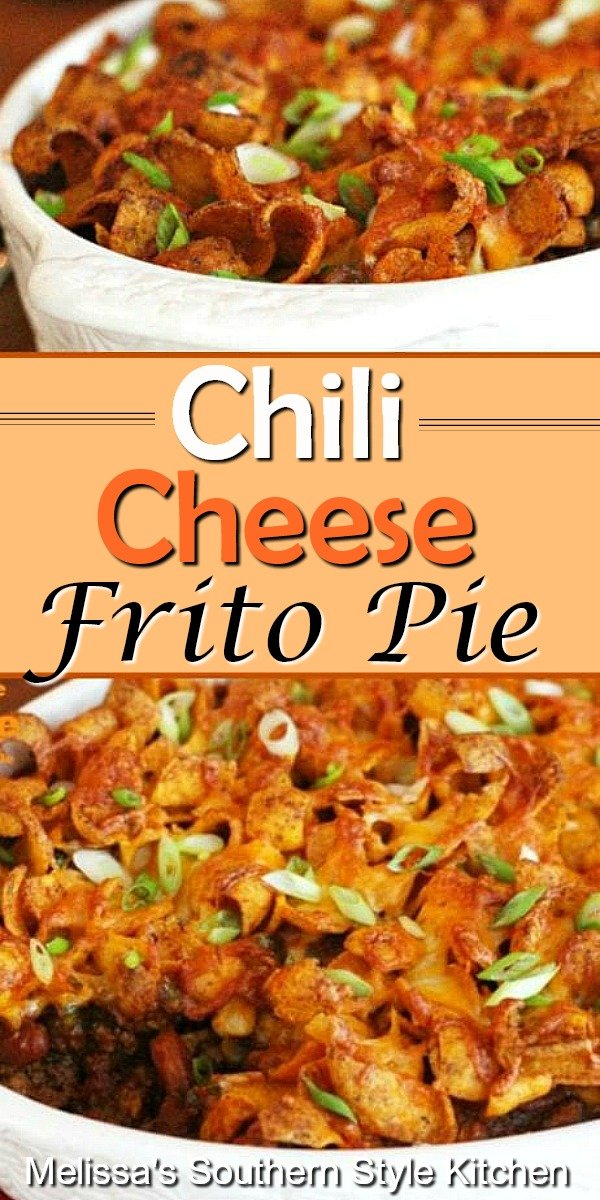 Enjoy this Chili Cheese Frito Pie topped with a dollop of sour cream and sprinkling of green onions #fritopie #chilicheesefritopie #fritos #chili #easygroundbeefrecipes #dinner #beef #hamburger #dinnerrecipes #southernfood #southernrecipes