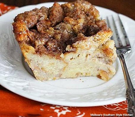 single piece cinnamon bun bread pudding