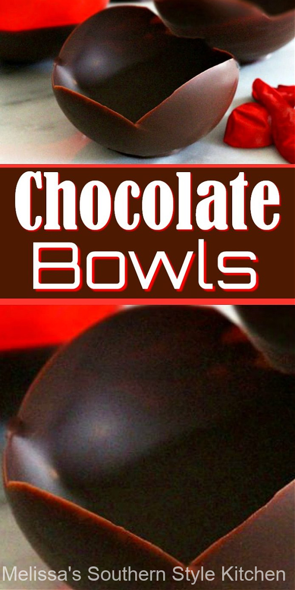 Fill these Edible Chocolate Bowls with ice cream whipped cream and fresh berries #chocolatebowls #ediblebowls #chocolate #chocolatedesserts #valentinesday #candy #dessertfoodrecipes #mothersday #holidaydesserts #newyearseven #christmas