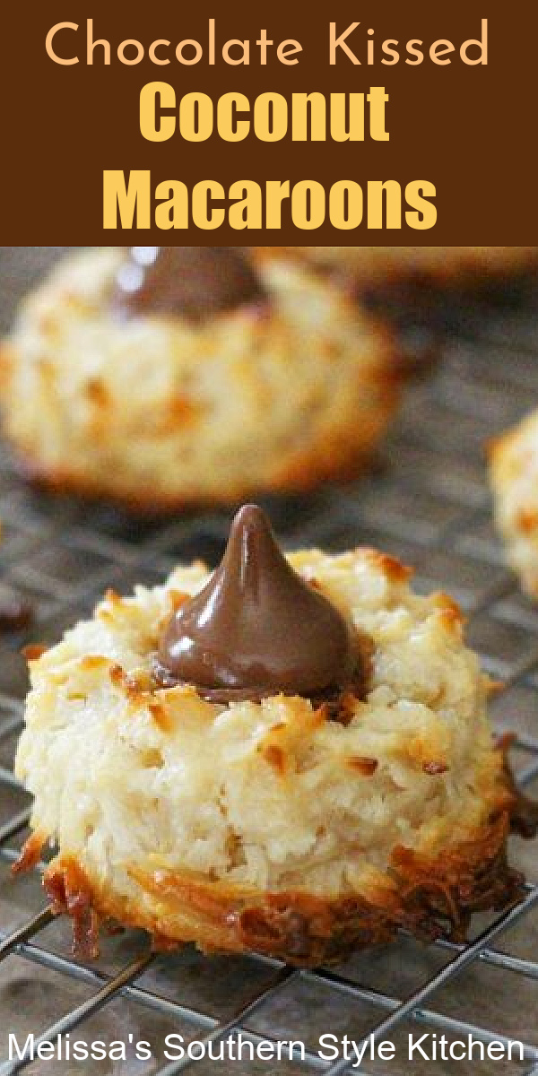 Cookie lovers will swoon for these Chocolate Kissed Coconut Macaroons #coconutmacaroons #thumbprintcookies #macaroons #coconut #cookierecipes #cookies #hersheyskisses #baking #desserts #dessertfoodrecipes #holidaybaking #christmascookies #easterdesserts #cookieswap #southernfood #southernrecipes