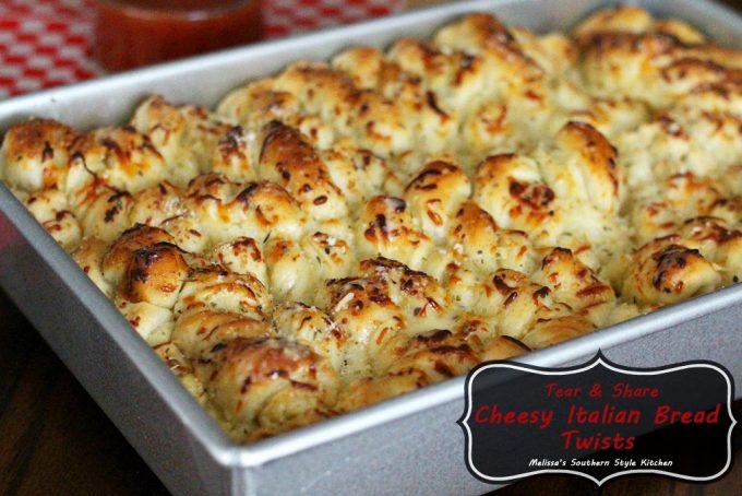Tear And Share Cheesy Italian Bread Twists