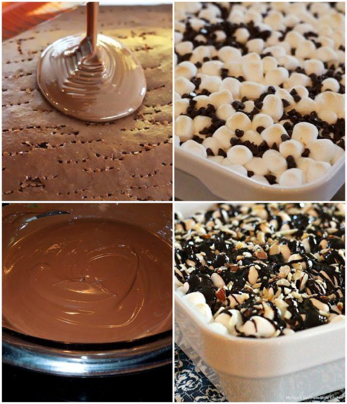 step-by-step preparation of Rocky Road Fudge Poke Cake