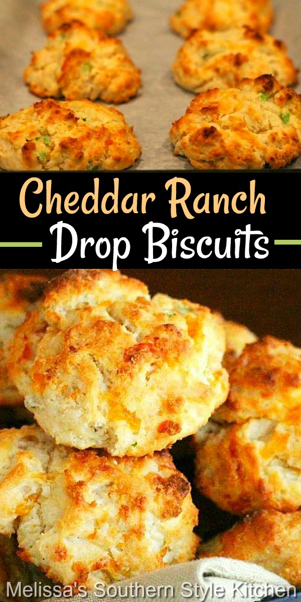 These cheddar-ranch infused drop biscuits require no rolling and cutting making them ideal for any meal #cheddarbiscuits #cheese #southernbiscuits #biscuitrecipes #dropbiscuits #cheddarranchdropbiscuits #brunch #breakfast #southernfood #southernrecipes #holidaybrunch