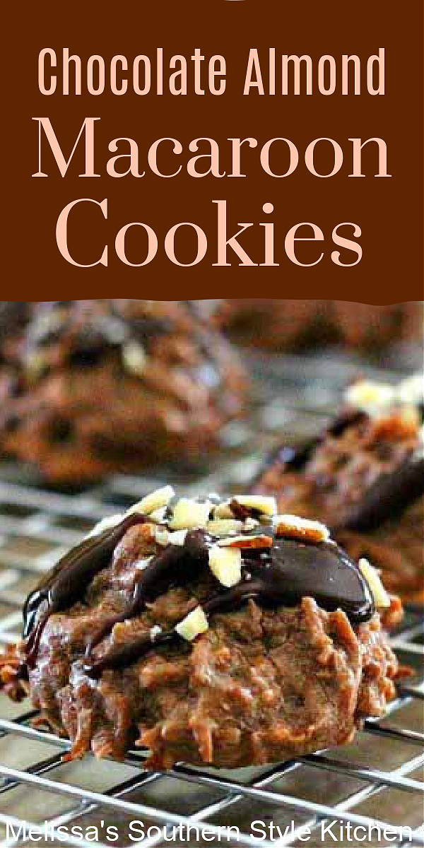 These Chocolate Almond Macaroon Cookies will satisfy your chocolate coconut cravings #chocolatecookies #christmascookies #chocolatemacaroons #macarooncookies #chocolate #holidaybaking #easycookierecipes #coconutcookies #coconut