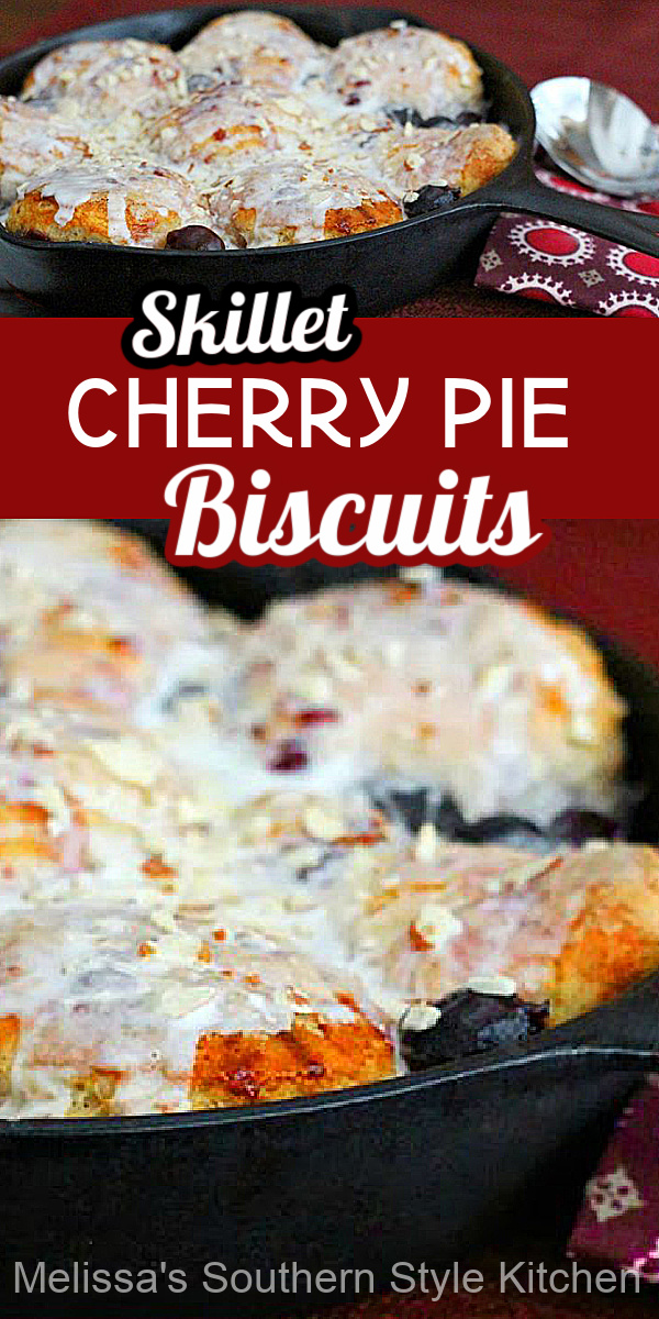 Southern biscuits and cherry pie collide in these sweet Skillet Cherry Pie Biscuits #cherrypie #cherrypiebiscuits #southernbiscuits #biscuitrecipes #sweets #desserts #brunchrecipes #castironcooking #southernrecipes