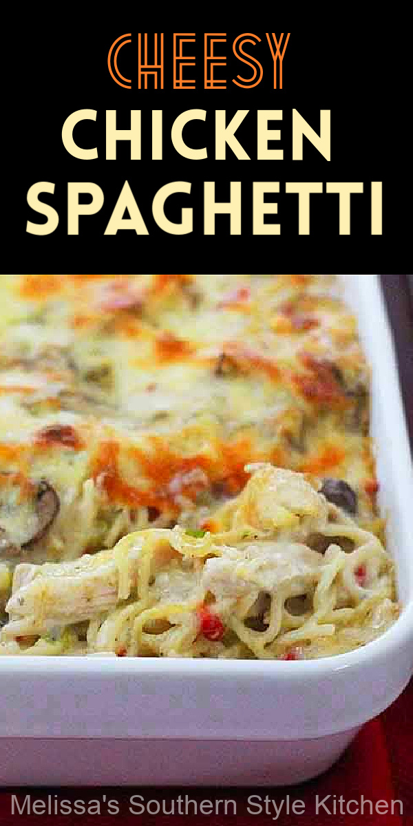 This delicious Cheesy Chicken Spaghetti features a creamy homemade sauce, tender pasta and chicken for a family friendly potluck meal #chickenspaghetti #cheesychickenspaghetti #spaghettirecipes #spaghetti #easychickenrecipes #casseroles #southernstylespaghetti #spaghetticasseroles