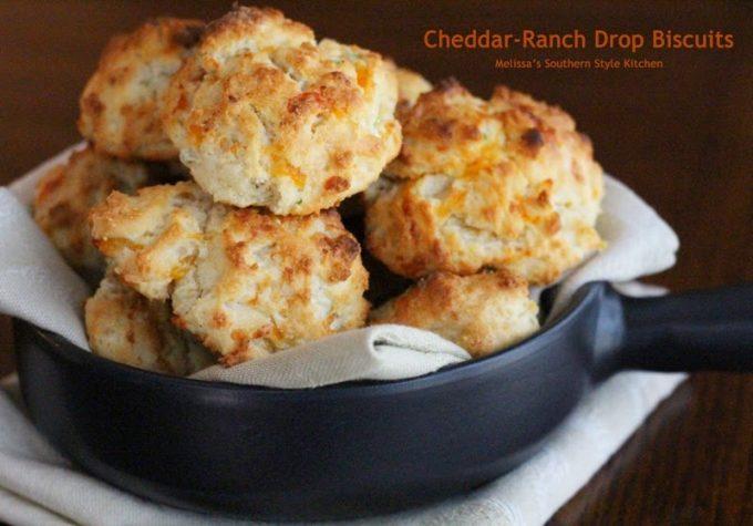 Cheddar Ranch Drop Biscuits - melissassouthernstylekitchen.com