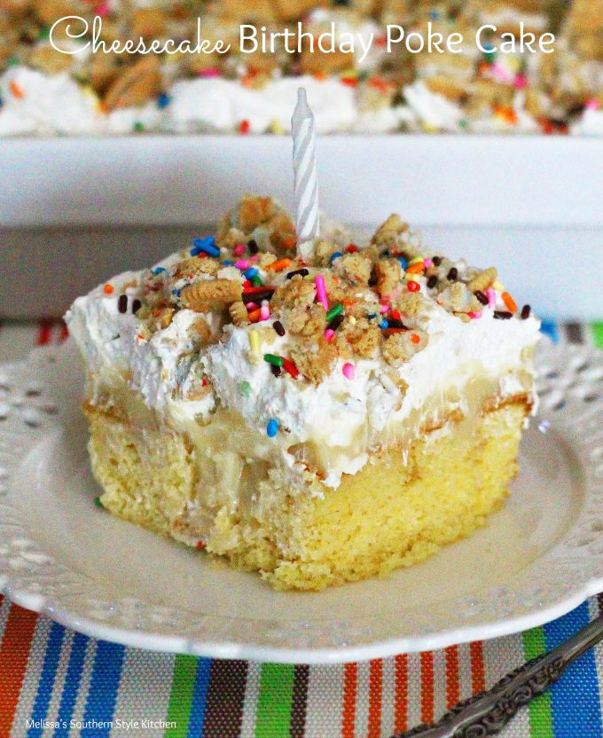 Fabulous Cheesecake Birthday Poke Cake Melissassouthernstylekitchen Com Funny Birthday Cards Online Fluifree Goldxyz