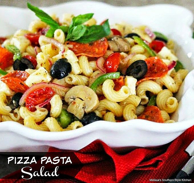 Pizza Pasta Salad in a serving bowl