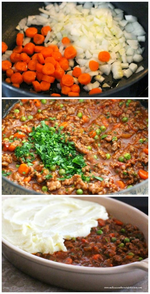 Step-by-step pictures of preparation of Shepherd's Pie
