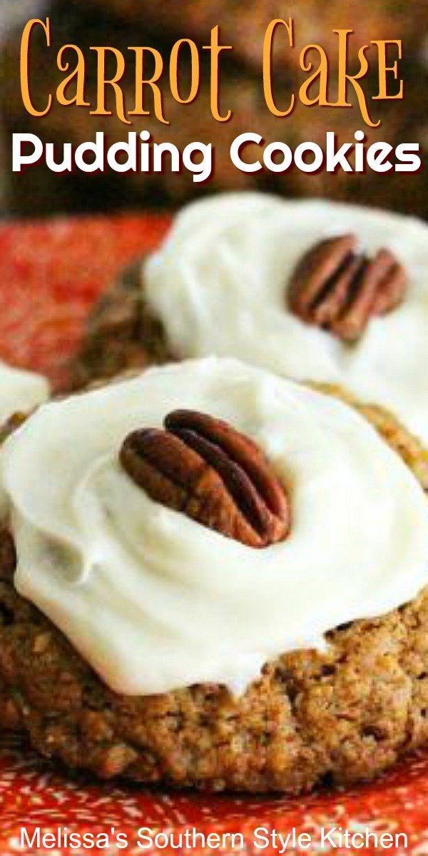 Cream cheese frosted Carrot Cake Pudding Cookies #carrotcake #cookies #puddingcookies #easterdesserts #carrotcakecookies #desserts #dessertfoodrecipes #southernfood #southernrecipes #melissassouthernstylekitchen
