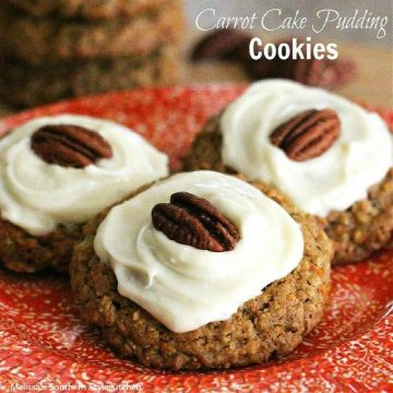 cream cheese frosted Carrot Cake Pudding Cookies