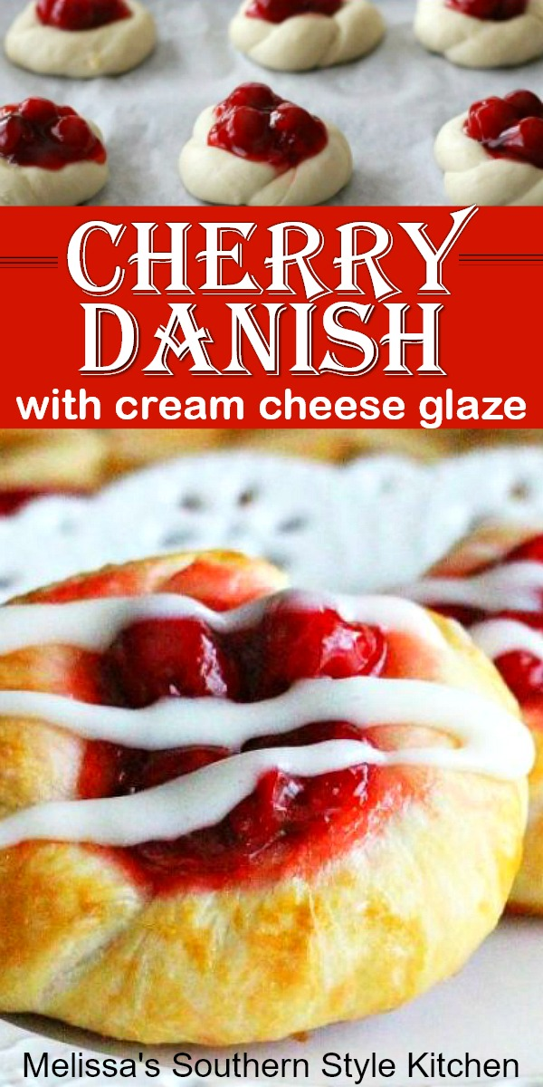 Transform frozen dinner rolls into these oh-so-delicious Cherry Danish with Cream Cheese Glaze #cherrydanish #cherry #cherrydesserts #pastries #brunch #breakfast #holidaybrunch #dinnerrolls #easyrecipes #southernrecipes #southernfood