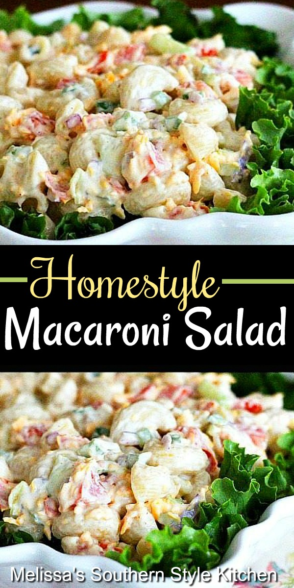 Picnic ready Homestyle Macaroni Salad #macaronisalad #pastasalads #macaroni #picnicrecipes #summercfookoutrecipes #southernmacaronisalad #southernfood #southernrecipes #sidedishrecipes