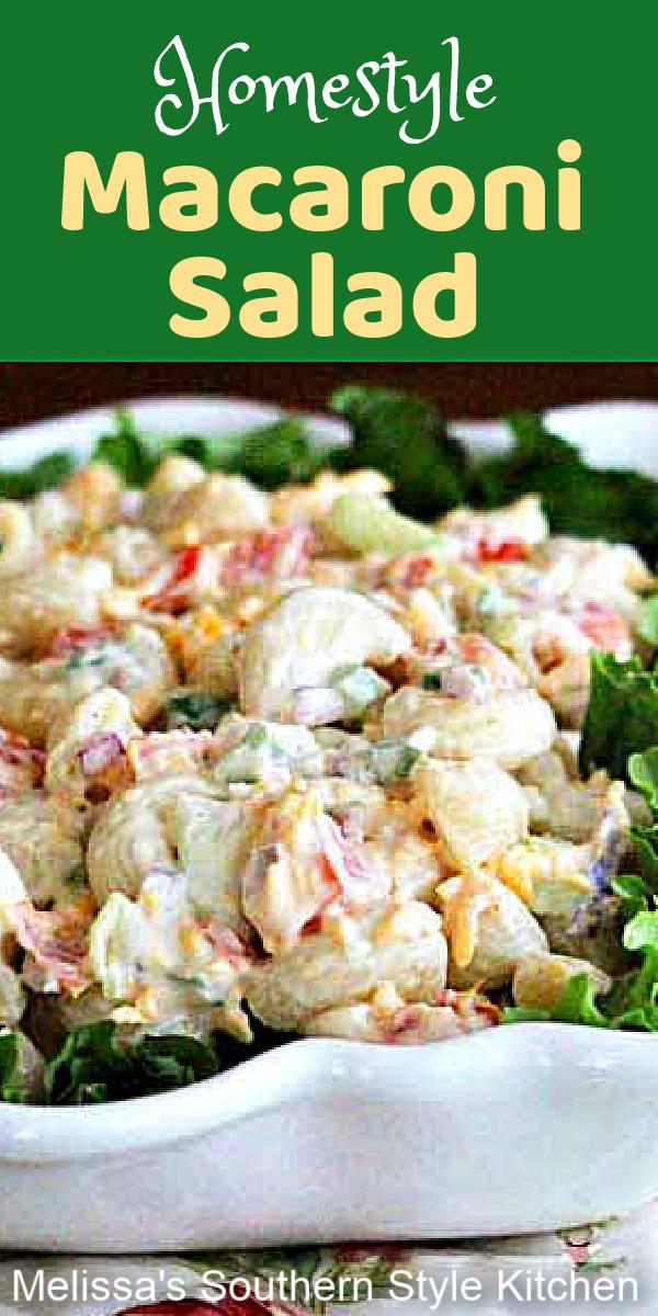 Picnic ready Homestyle Macaroni Salad #macaronisalad #pastasalads #macaroni #picnicrecipes #summercfookoutrecipes #southernmacaronisalad #southernfood #southernrecipes #sidedishrecipes