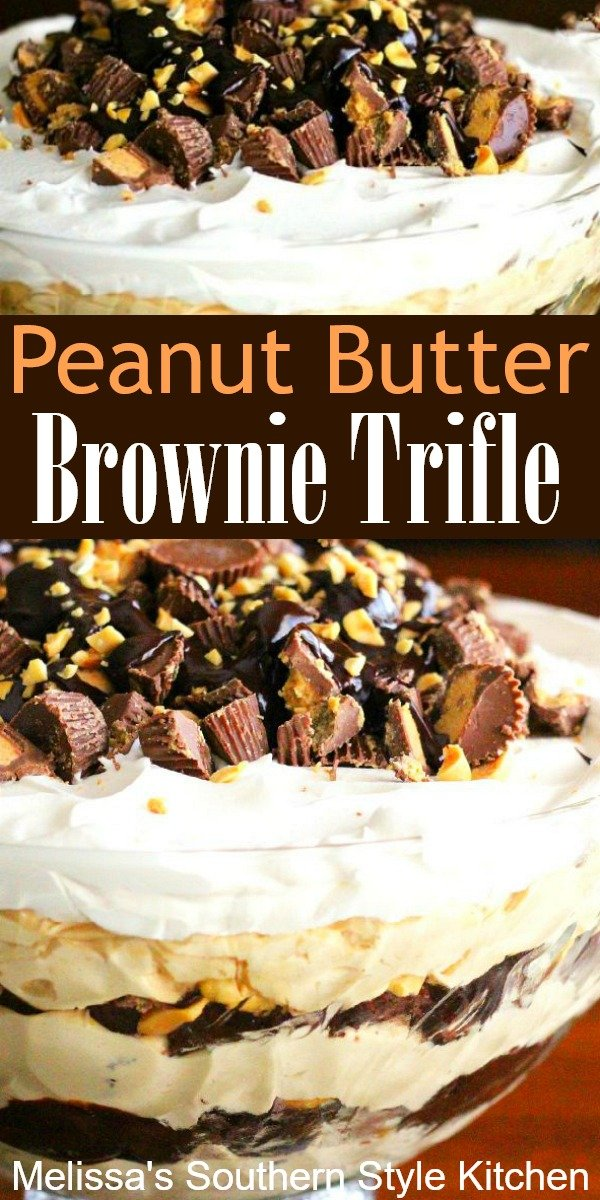 Peanut Butter and chocolate collide in this amazing brownie trifle #peanutbutter #triflerecipes #peanutbuttercups #brownies #brownietrifle #desserts #dessertfoodrecipes #southernrecipes #southernfood #holidayrecipes