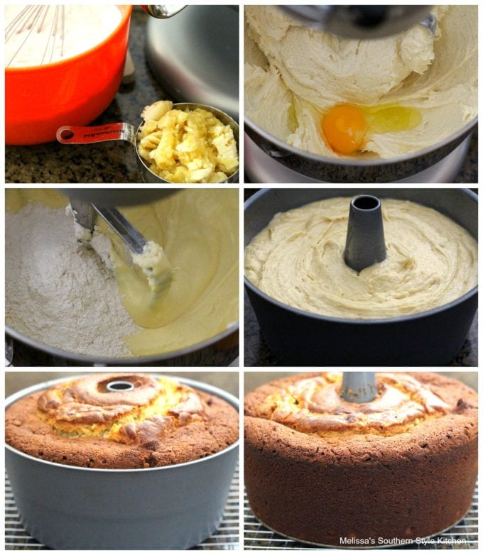 step-by-step images and ingredients to make pound cake