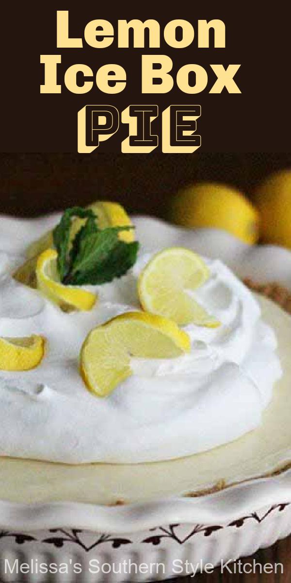 Enjoy a burst of citrus in every bite of this fresh lemon pie #lemoniceboxpie #iceboxpie #lemonpie #lemonpierecipes #pierecipes #lemons #citrus #desserts #dessertfoodrecipes #southernfood #southernrecipes