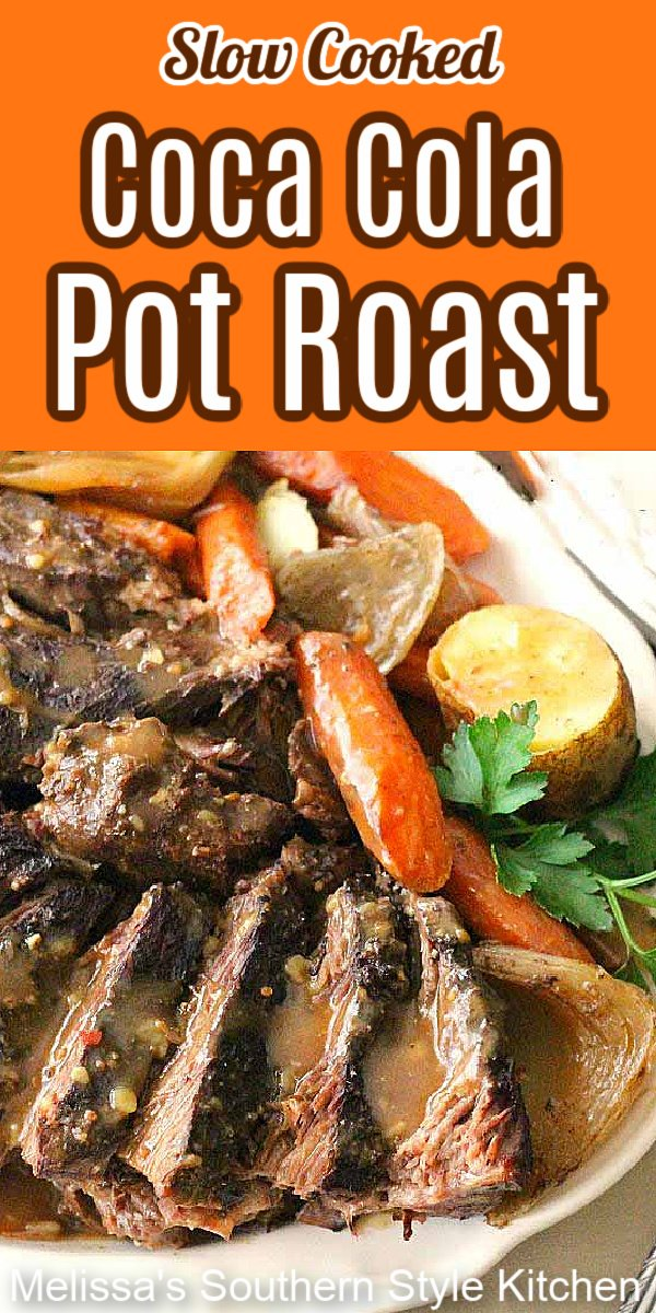This tender and succulent Coca-Cola Pot Roast is slow simmered in a rich au jus made with select seasonings and coca cola #slowcookedpotroast #slowcookerroast #cocacolaroast #easyroastrecipes #cocacola #aujus #roastrecipes