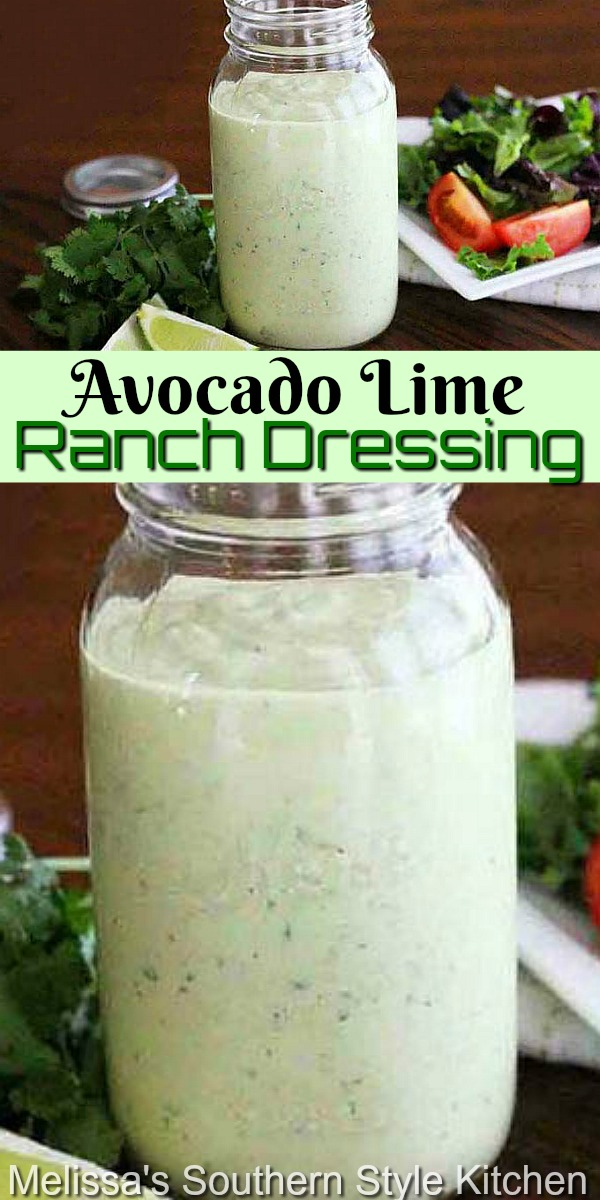 This better-than-Chick-fil-A Avocado Lime Ranch Dressing is addictive! #ranchdressing #avocadoranch #homeadesaladdressing #salads #food #recipes #copycat #southernrecipes #southernfood #melissassouthernstylekitchen #healthyfood #saladdressingrecipes #avocado