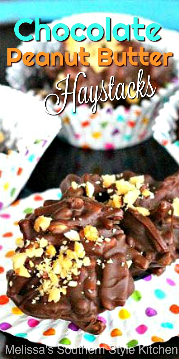 You can't stop at one when you're popping these easy chocolate peanut butter haystacks #chocolate #chocolatepeanutbuter #haystacks #chowmeinnoodles #candy #holidayrecipes #desserts #dessertfoodrecipes #christmas #easter #easycandyrecipes #southernfood #southernrecipes #desserts #christmascandy