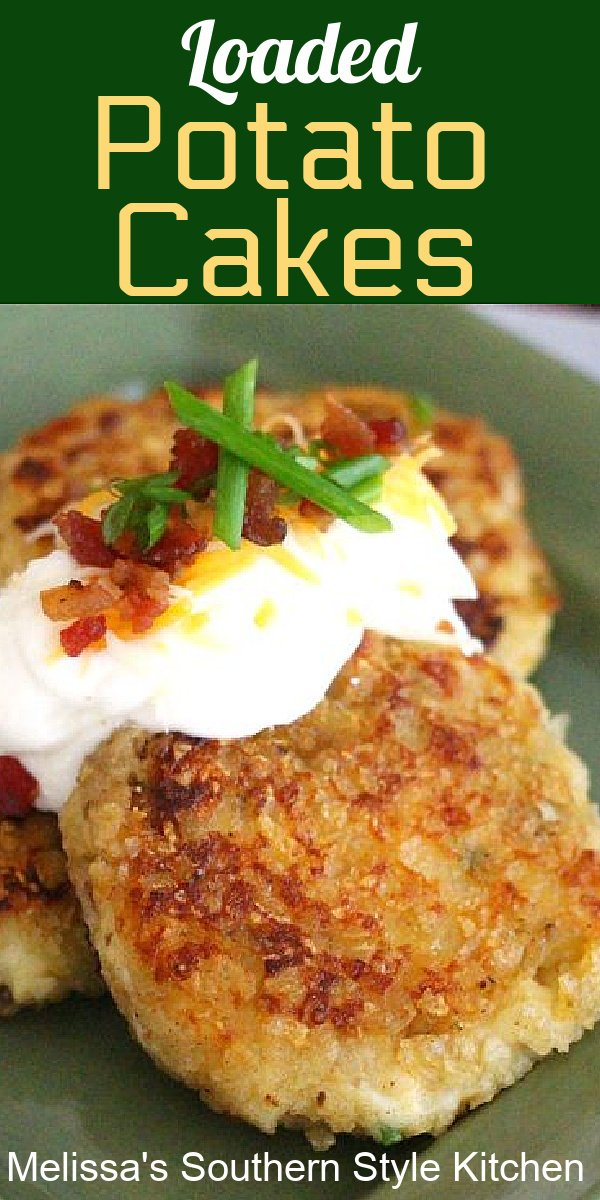 These Loaded Potato Cakesare an unforgettable side dish #potatoes #potatocakes #loadedpotatoes #loadedpotatocakes #easypotatorecipes #mashedpotatoes #sidedishrecipes #leftovermashedpotatorecipes #dinnerideas #dinner #southernfood #southernrecipes