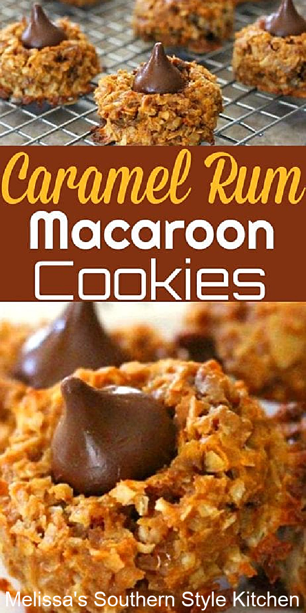 Caramel Rum Macaroon Cookies will make a stellar addition to your cookie menu #macaroons #macarooncookies #caramelrummacaroons #dulcedeleche #macarooncookies #holidaybaking #holidaycookies #cookierecipes #chocolate #coconutcookies #southernfood #southernrecipes #christmascookies