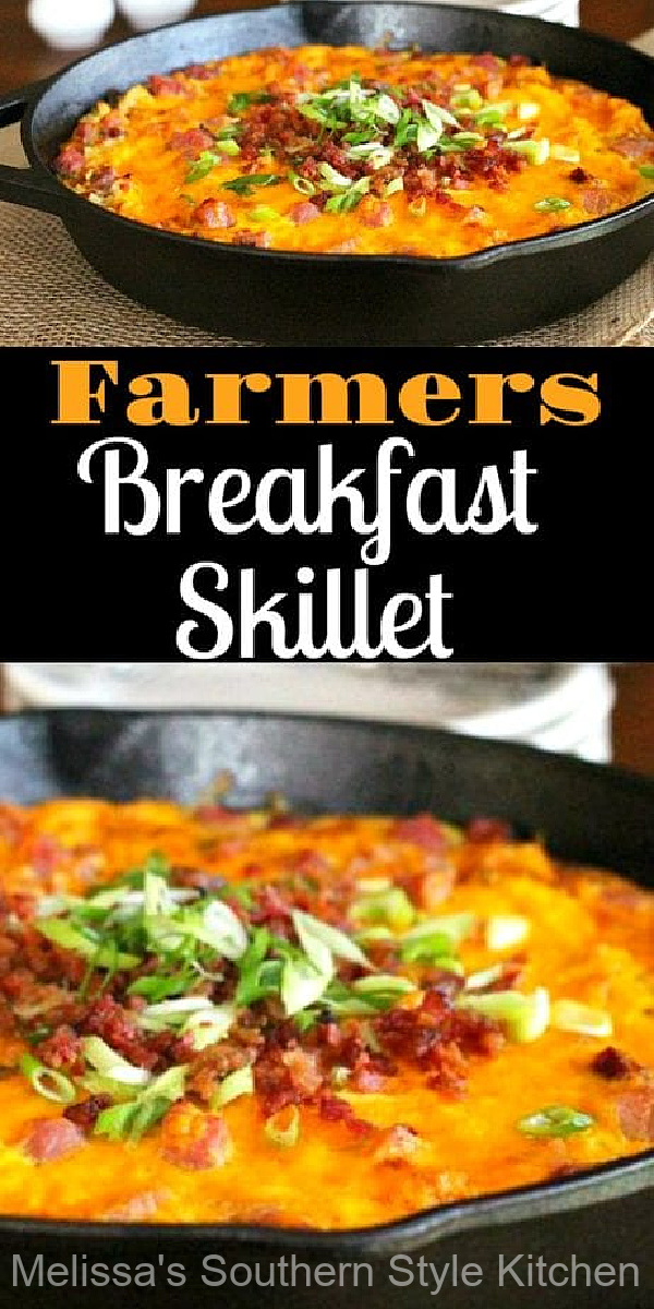Start your morning with this cheesy skillet filled with ham, eggs and hash browns #farmersbreakfastskillet #eggs #baconandeggs #hahsbrowns #farmersbreakfast #brunchrecipes #breakfast #southernfood #southernrecipes #bacon #holidaybrunch