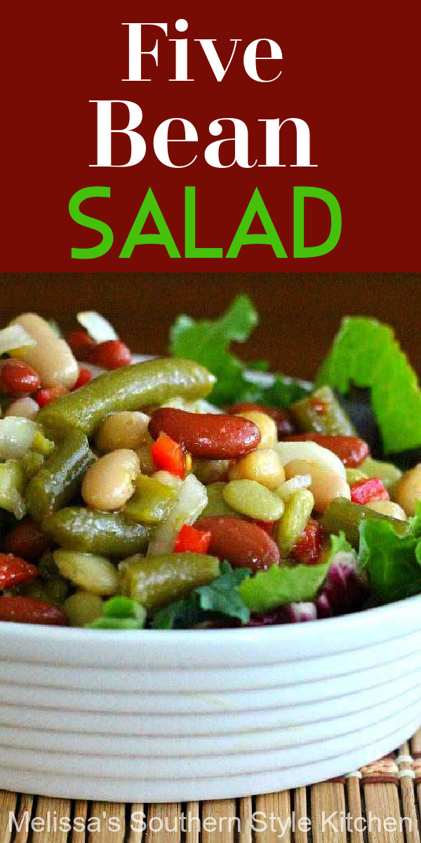 This classic refrigerator salad is packed with flavor #beans #beansalad #sidedishrecipes #beans #vegetarianrecipes #healthysalads #saladrecipes #5beansalad
