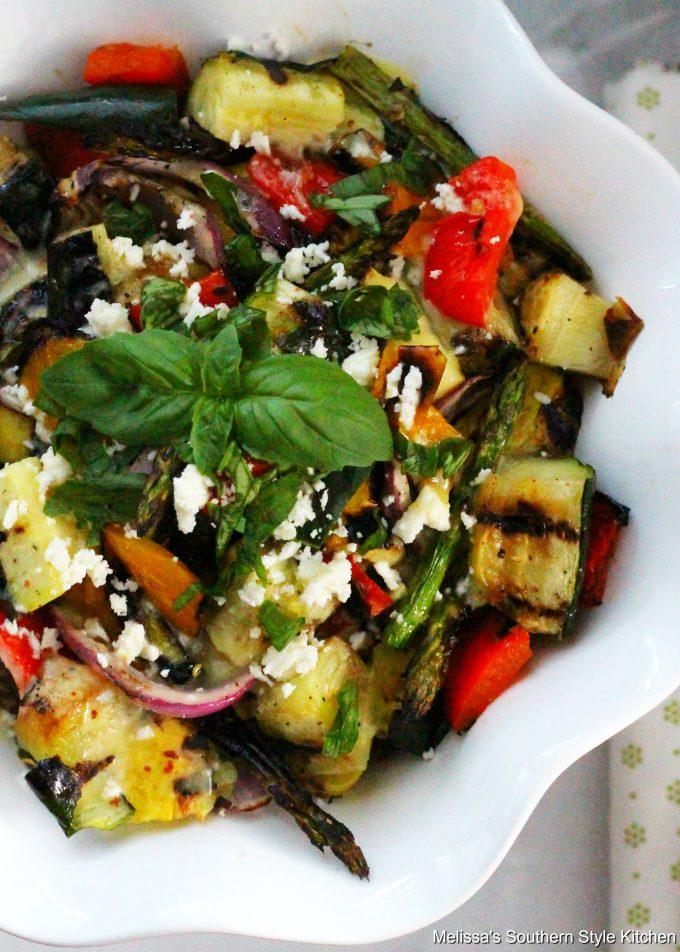 Grilled Vegetable Salad with an Apple Cider-Honey Vinaigrette in a serving bowl