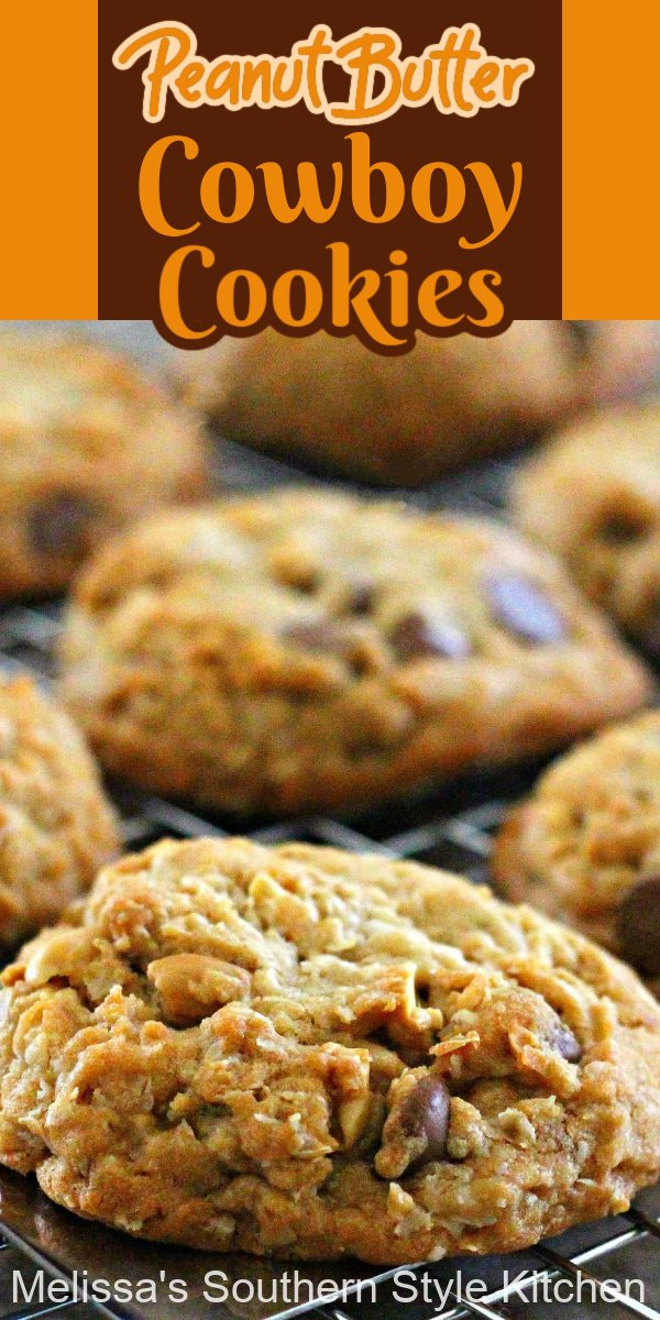These loaded-up jumbo Peanut Butter Cowboy Cookies are impossible to resist #cowboycookies #peanutbuttercookies #cookierecipes #cookies #chocolatechips #peanuts #holidaybaking #holidays #desserts #dessertfoodrecipes #peanutbutter #southernfood #southernrecipes