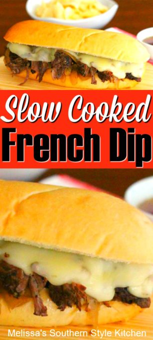 Slow Cooked French Dip #slowcookedroast #beef #beefrecipes #frenchdip #slowcookerbeef #crockpotfrenchdip #easybeefrecipes #food #recipes #dinnerideas #dinner #southernrecipes #southernfood #melissassouthernstylekitchen #easyrecipes