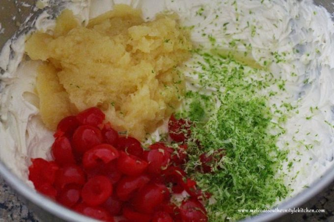 Ingredients for cheesecake dip in a mixing bowl