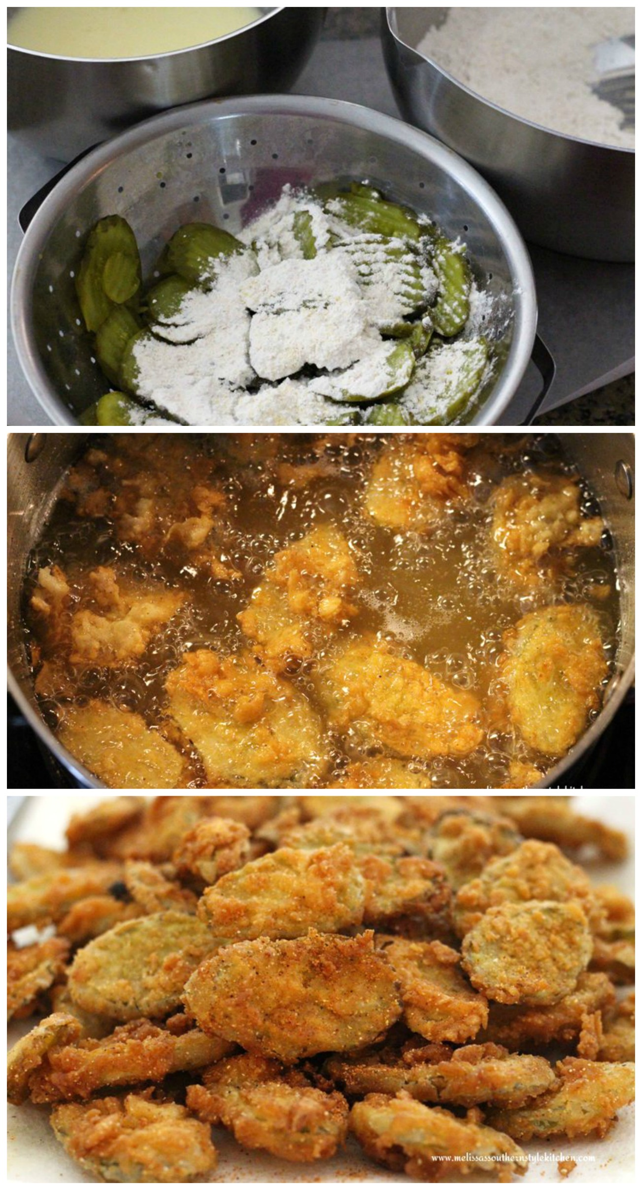 step by step images and ingredients to make Fried Dill Pickles with Creole Dipping Sauce