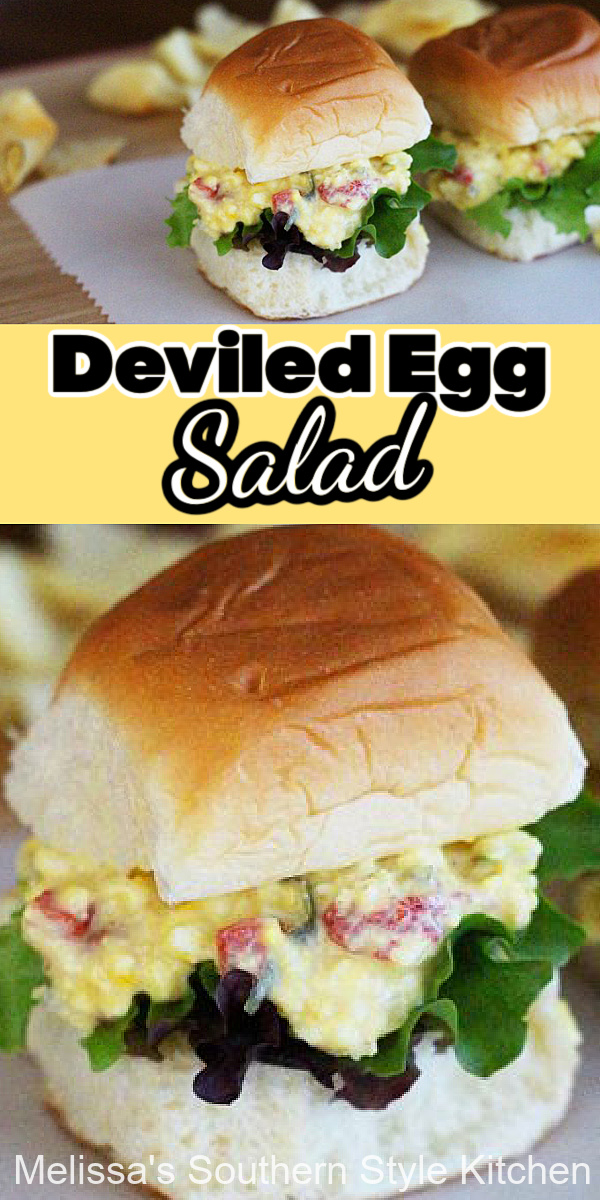 Whip-up a batch of Deviled Egg Salad and have it ready for snacking with bread, rolls and crackers or light meals on hectic days #eggsalad #besteggsaladrecipes #eggs #eggrecipes #lunch #dinnerideas #salads #saladrecipes #southernrecipes #maindish #brunch #easyrecipes