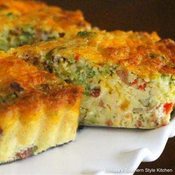 easy Broccoli Cheddar Bacon Quiche