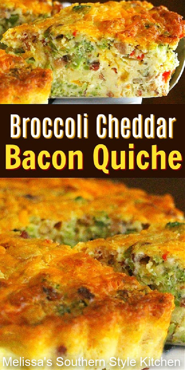 This cheesy Broccoli Cheddar Bacon Quiche makes its own crust while it bakes #broccoliquiche #broccolicheddar #quicherecipes #bestquicherecipes #broccolicheddarbaconqiuche #cheddar #brunch #breakfast #lunch #dinner #southernrecipes
