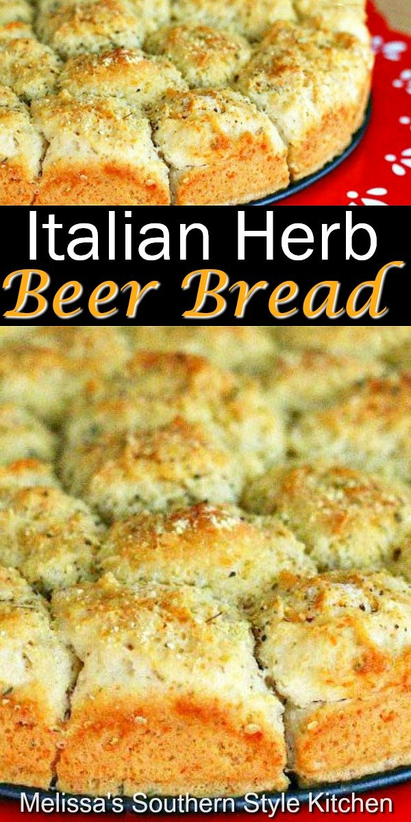 No yeast is required to make this pull apart Italian Herb Beer Bread #beerbread #pullapartbread #breadrecipes #beer #bread #Italianbreadrecipes #quickbreads #southernfood #southernrecipes