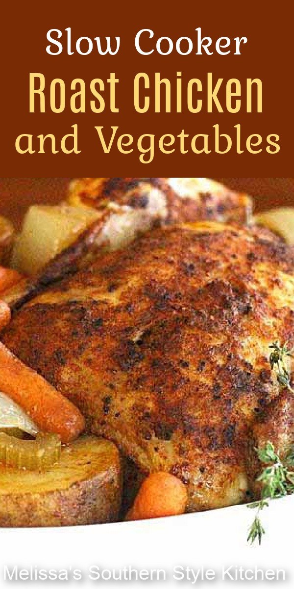 Make this delicious chicken dinner classic with ease using your slow cooker #roastchicken #slowcookerchicken #slowcookerroastchicken #easychickenrecipes #chicken #vegetables #slowcookerrecipes #crockpotchickenrecipes #dinner #dinnerideas #southernfood #southernrecipes