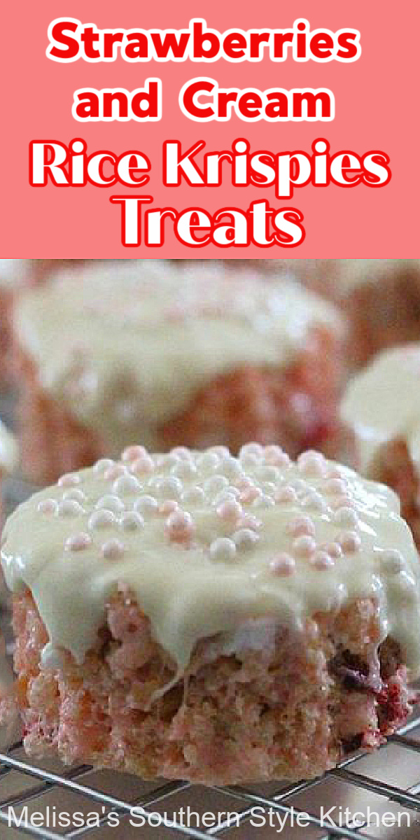 Upgrade your next batch of rice krispies treats with this recipe for Strawberries and Cream Krispies Treats #strawberryricekrispietreats #ricekrispietreats #strawerryhies #strawberriesandcream #easyrecipes #desserts #dessertfoodrecipes #southernrecipes #strawberry